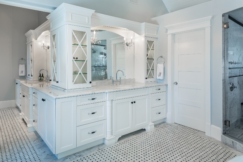 Brookhaven cabinetry, bathroom, bathroom remodel, white bathroom, white  cabinets